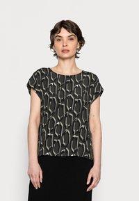 Opus - FELGA ETHNO - Print T-shirt - black oliv - 0