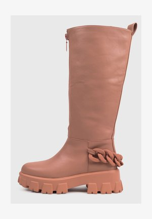 Stivali con plateau - pink