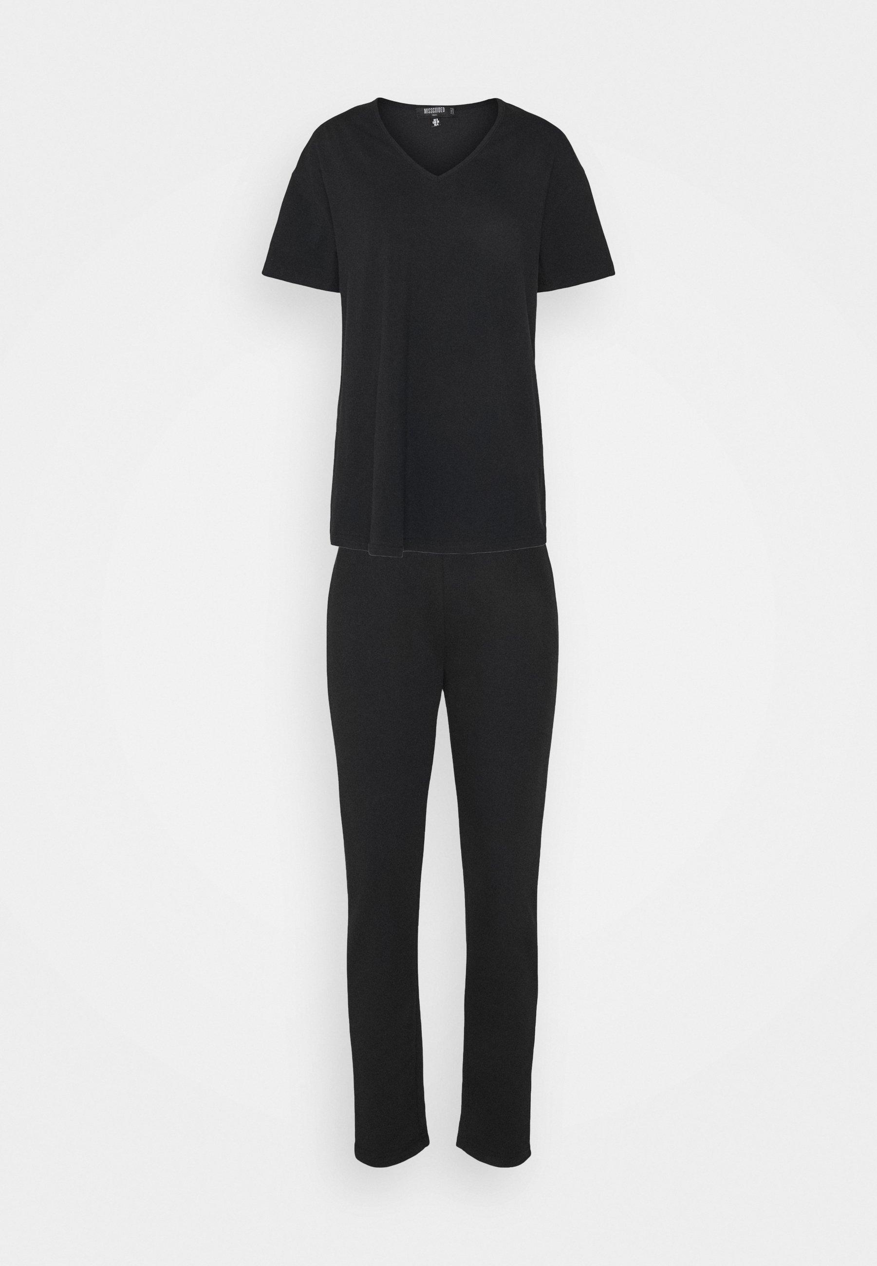 Damen COORD V NECK SHIRT JOGGER SET - T-Shirt basic