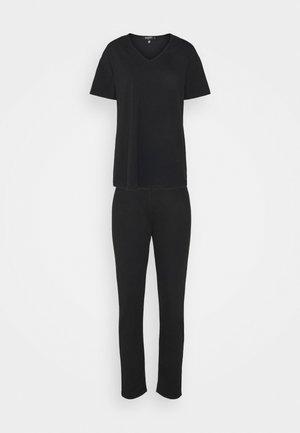 COORD V NECK SHIRT JOGGER SET - T-shirt basique - black