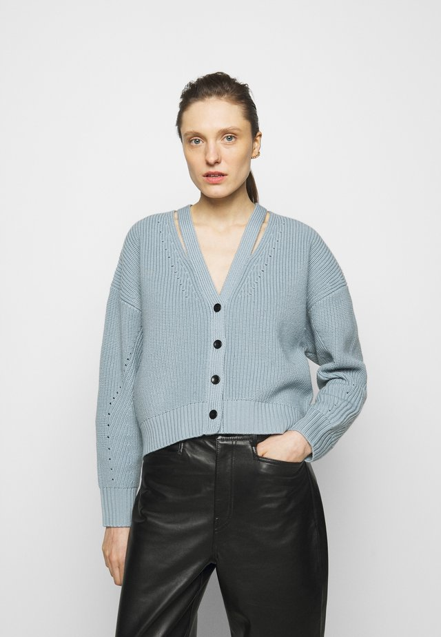 CARDIGAN BUTTON BACK - Kardigan - steel blue