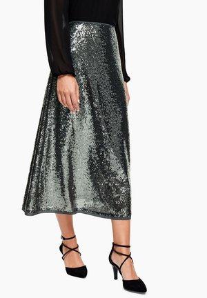 Maxi skirt - dark green/silver