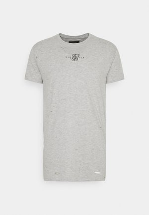 DISTRESSED BOX TEE - T-shirt med print - grey marl