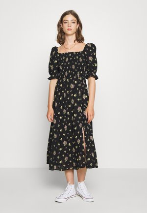 DOBBY PUFF SHIRRED MIDI - Vestido largo - black