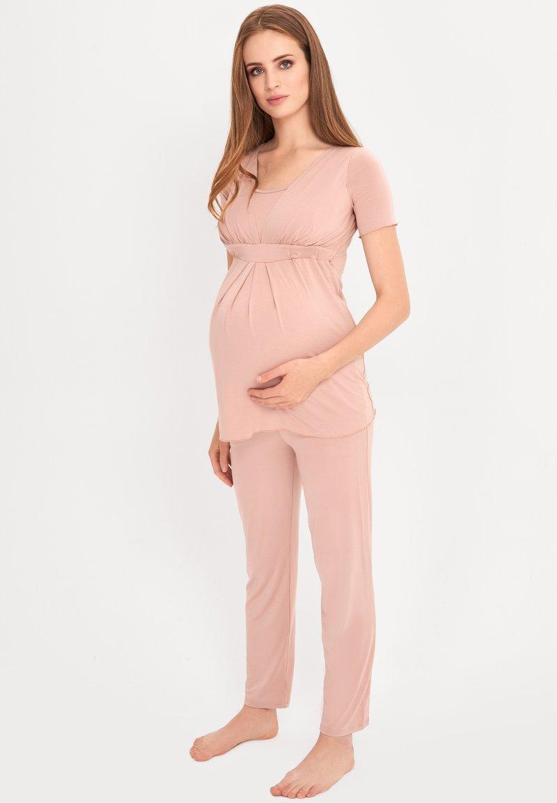 Cool Mama - BAMBOO MATERNITY & NURSING PYJAMA 2 IN 1 BASIC - Pyjama - pink