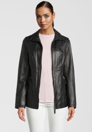 HANNE - Leather jacket - black