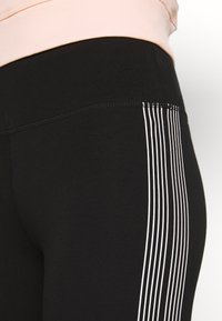 DKNY - HIGH WAIST TRACK LOGO - Collants - black/white - 6