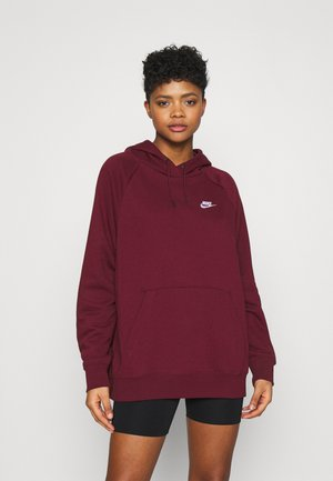 HOODY - Luvtröja - dark beetroot/white
