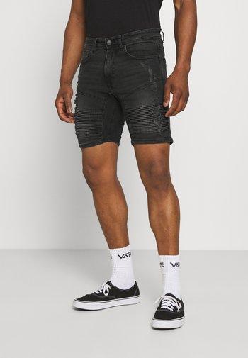 AGED MOTO RIPS - Denim shorts - aged black