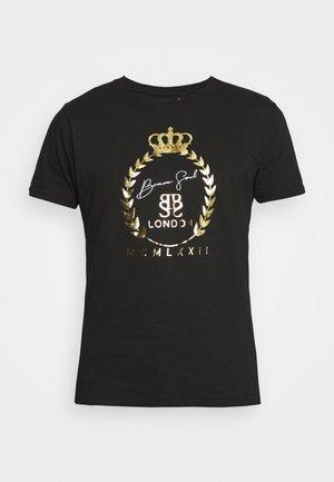 Camiseta estampada - jet black/gold