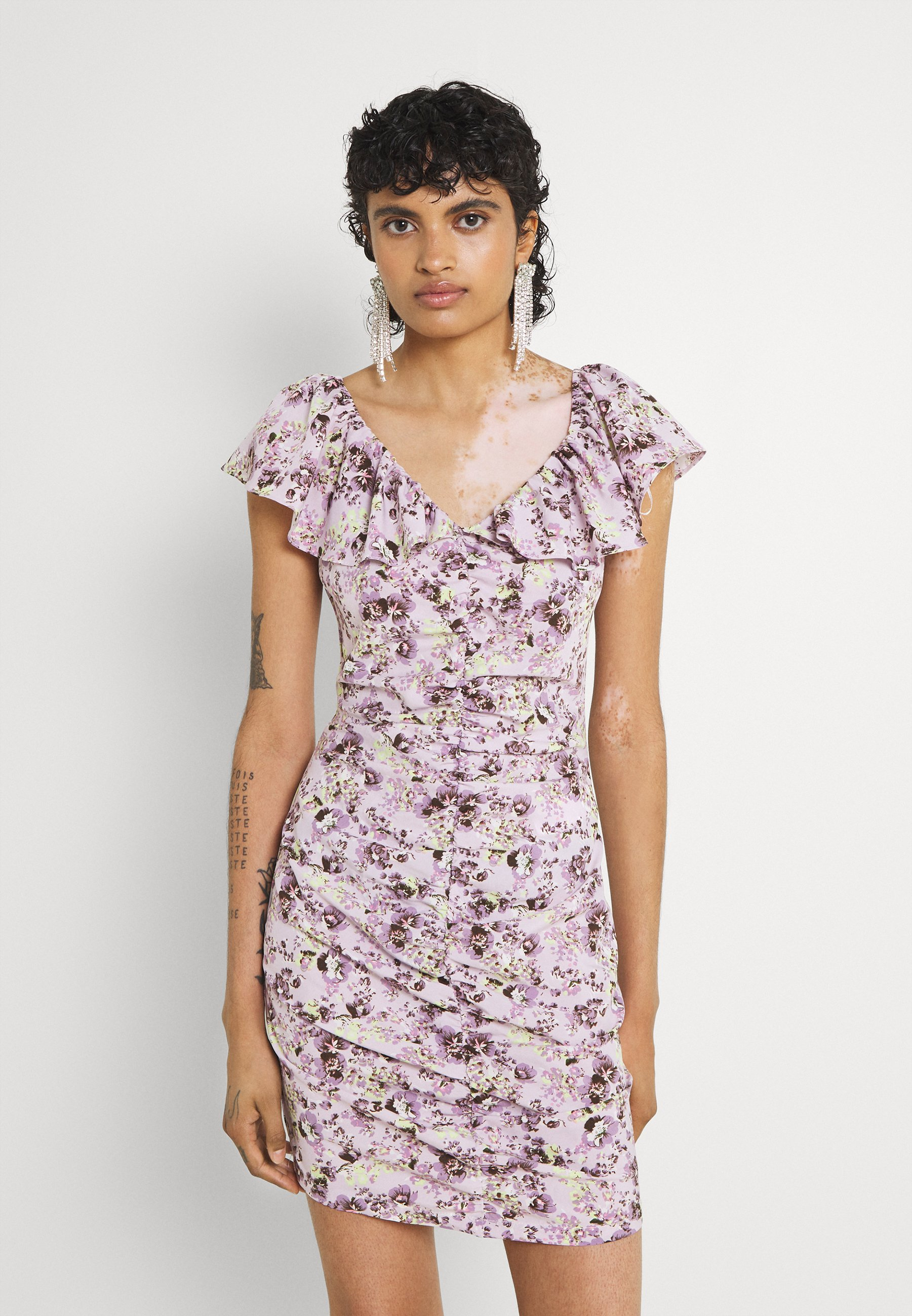 Women FLORAL RUCHED FRONT MINI DRESS - Day dress