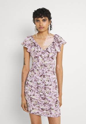 FLORAL RUCHED FRONT MINI DRESS - Day dress - lilac