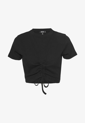 RUCHED SEAM SHORT SLEEVE CROP TOP - Triko s potiskem - black