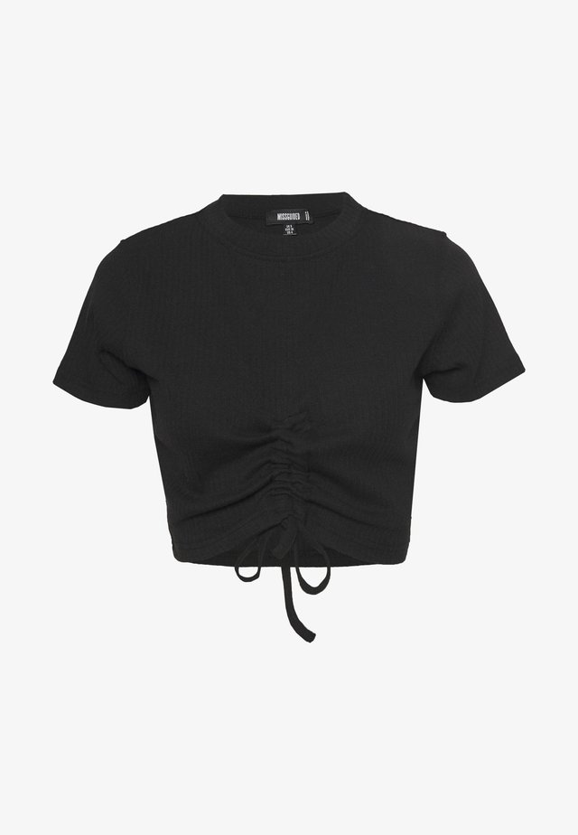 RUCHED SEAM SHORT SLEEVE CROP TOP - T-shirt imprimé - black