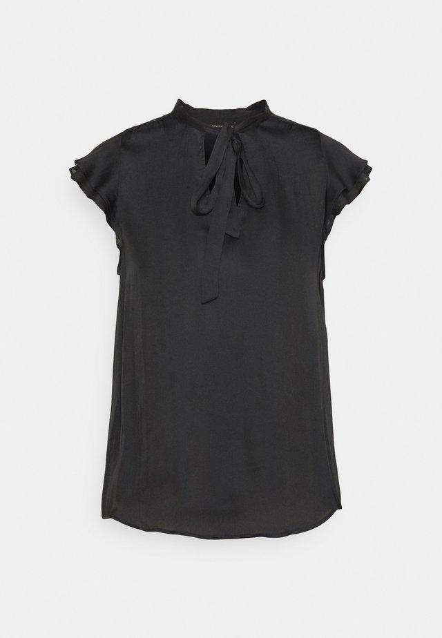 FLUTTER SLEEVE TIE NECK SOLIDS - T-shirt basic - black