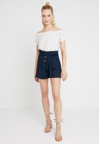 Vero Moda - VMANNA MILO OFF SHOULDER STRIPE - Blouse - snow white/night sky - 1