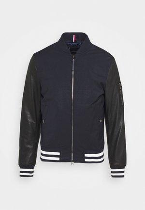MIXED MEDIA JACKET - Leather jacket - blue