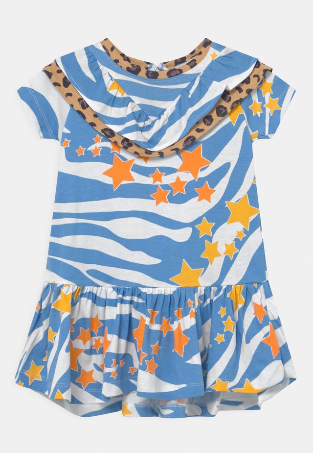AQUA ZEBRA FRILL DRESS - Jersey dress - blue