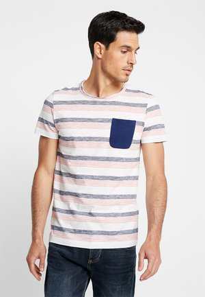 STRIPED WITH POCKET - T-shirt print - creamy white