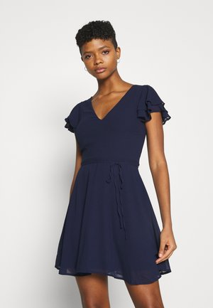 DOUBLE FLOUNCE SLEEVE DRESS - Cocktail dress / Party dress - navy