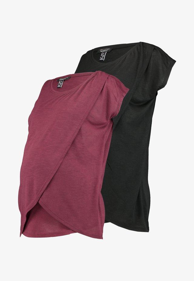 NURSING WRAP TEE 2PACK - Print T-shirt - black / burgundy