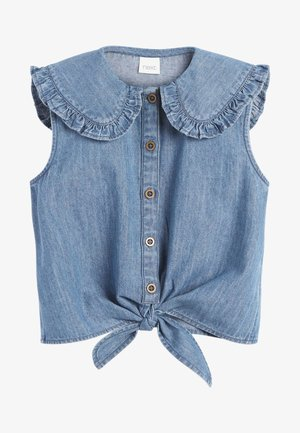 TIE FRONT - Button-down blouse - blue denim