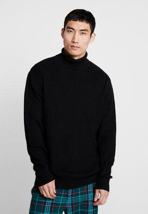 CARDIGAN STITCH ROLL NECK  - Pullover - black