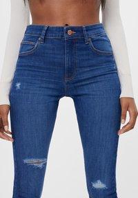 Bershka - MIT HOHEM BUND  - Jeans Skinny Fit - dark blue - 3
