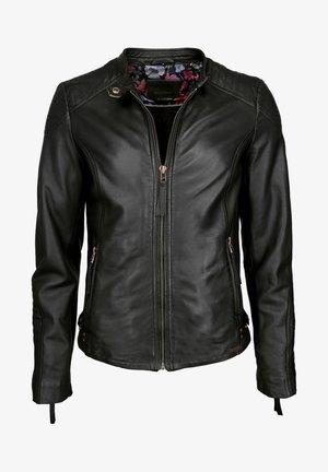 MIT STEHKRAGEN  - Leather jacket - schwarz