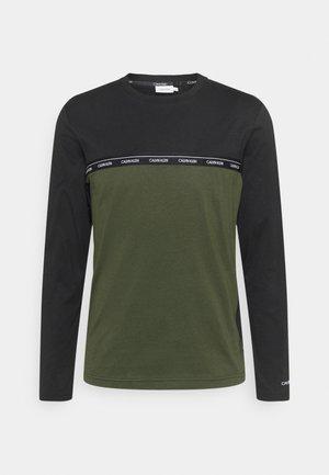 LOGO STRIPE LONG SLEEVE - Pitkähihainen paita - dark olive/black