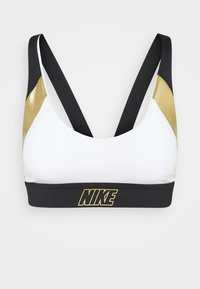 Nike Performance - INDY METALLIC LOGO BRA - Urheiluliivit: kevyt tuki - white/black/metallic gold - 3