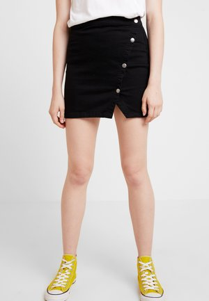NOTCHED - Falda vaquera - black