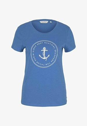 ORGANIC BASIC PRINT TEE - T-shirt imprimé - mid blue