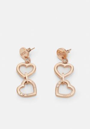 DOUBLE HEART LONG - Earrings - rose gold-coloured