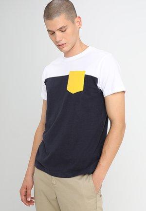 Print T-shirt - navy/white/chromeyellow
