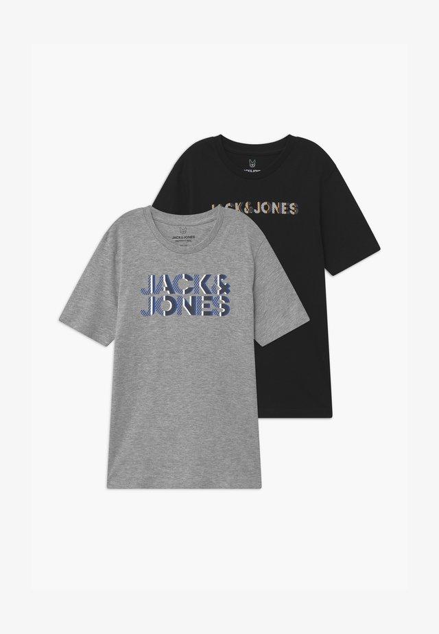JJLOGO TEE CREW NECK 2 PACK - T-shirt imprimé - light grey/ black