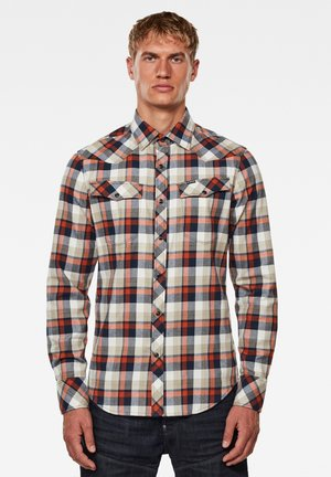 3301 SLIM - Shirt - cinnamon orange jacob check