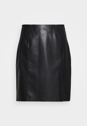 YANARA - Leather skirt - black