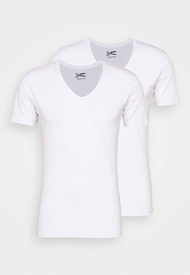 V NECK 2 PACK - T-shirt - bas - white