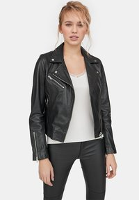 Stradivarius - Leather jacket - black - 0