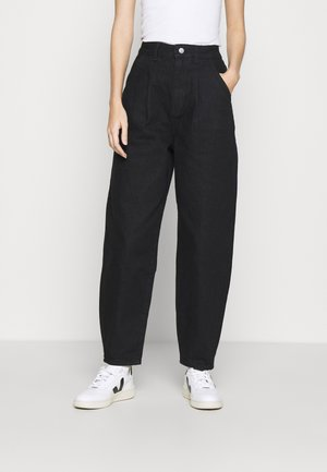 HIGH RISE BARREL CROPPED JEANS - Relaxed fit jeans - black wash
