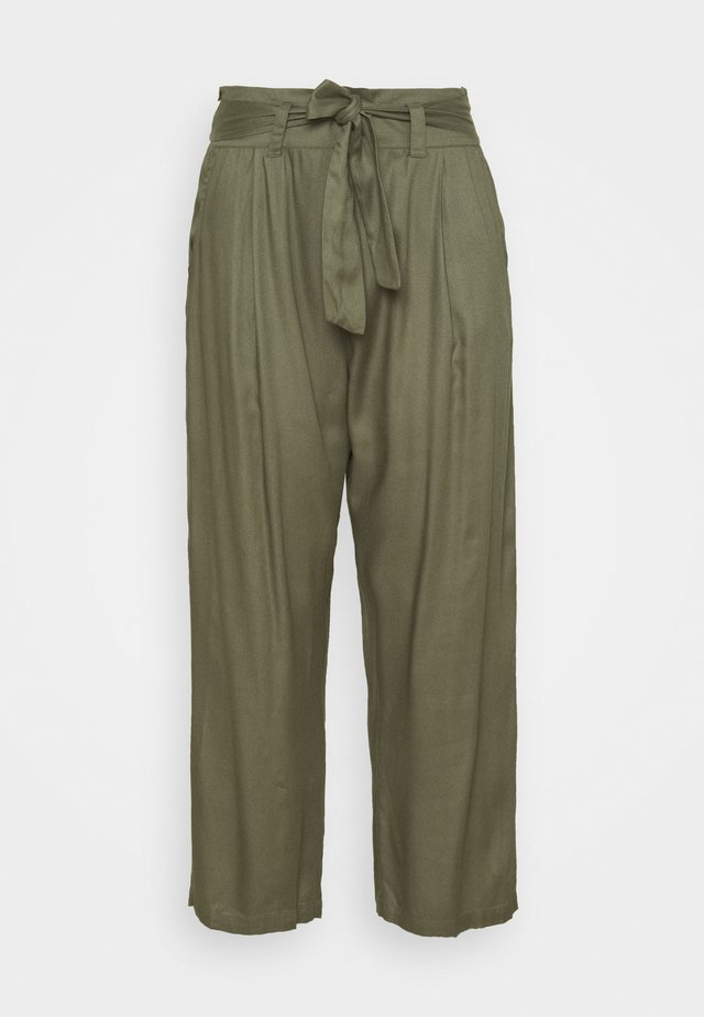 TIE WAIST TROUSERS WITH POCKETS - Pantalon classique - khaki