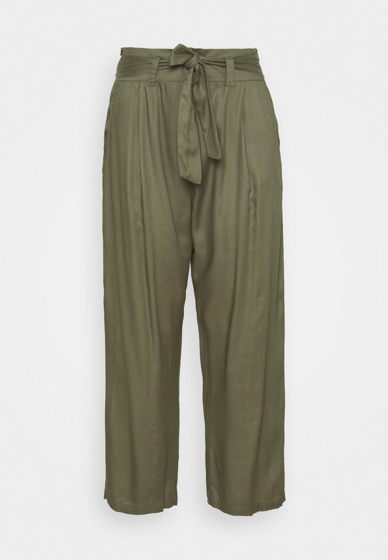 Simply Be - TIE WAIST TROUSERS WITH POCKETS - Trousers - khaki