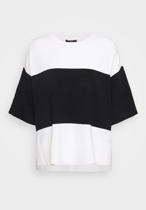 STRIPE COLORBLOCK SIDE SLITS - Print T-shirt - ivory/black