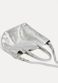 OYSHO - METALLIC LEATHER MINI SHOPPER - Handbag - silver - 4