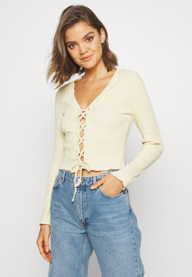 TIE UP CARDI - Long sleeved top - yellow