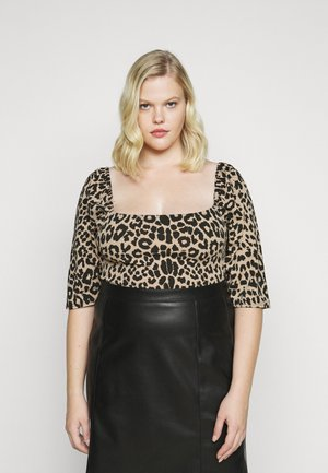 LEOPARD PUFF SLEEVE CROP - T-shirts med print - brown