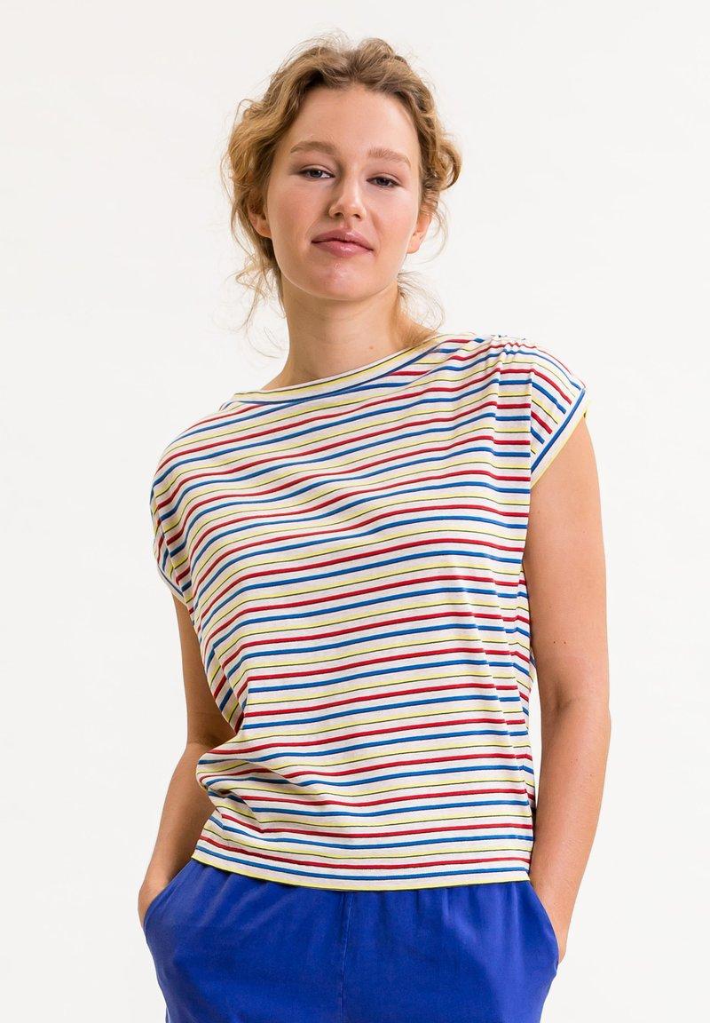 UVR Berlin - TIFFANYINA - Print T-shirt - beige mit bunten streifen