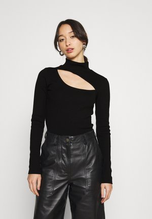 PCSARINA CUT OUT - Bluzka z długim rękawem - black