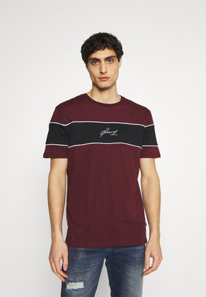 T-Shirt print - bordeaux/black/white